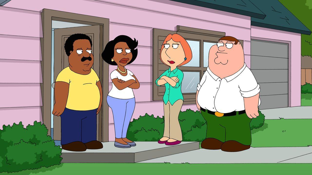 Zwischen Donna (2.v.l.) und Lois (2.v.r.) entbrennt ein großer Streit, dabei verbieten sie ihren Männern Peter (r.) und Cleveland (l.) sogar, sich z... - Bildquelle: 2014 Twentieth Century Fox Film Corporation. All rights reserved.