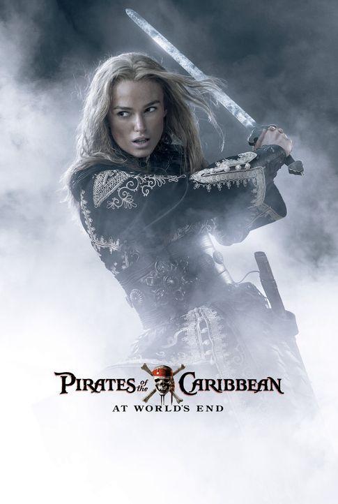 Pirates of the Caribbean - Am Ende der Welt - Plakatmotiv: Elizabeth (Keira Knightley), Will und der tot geglaubte Kapitän Barbossa  begeben sich au... - Bildquelle: Peter Mountain Disney Enterprises, Inc.  All rights reserved