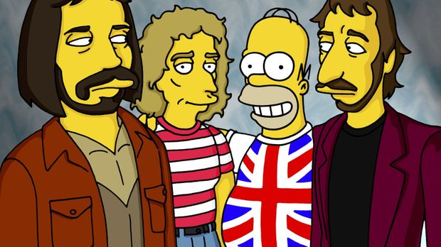 Als neuer Bürgermeister lädt Homer (2.v.r.) die Rockgruppe