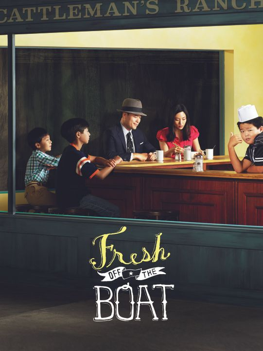 (2. Staffel) - Bei ihnen ist immer was los: Louis (Randall Park, M.), Jessica (Constance Wu, 2.v.r.), Eddie (Hudson Yang, r.), Emery (Forrest Wheele... - Bildquelle: 2015-2016 American Broadcasting Companies. All rights reserved.