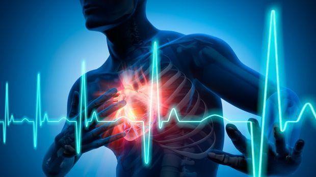 Herz im Körper - Herzinfarkt mit EKG-Linie