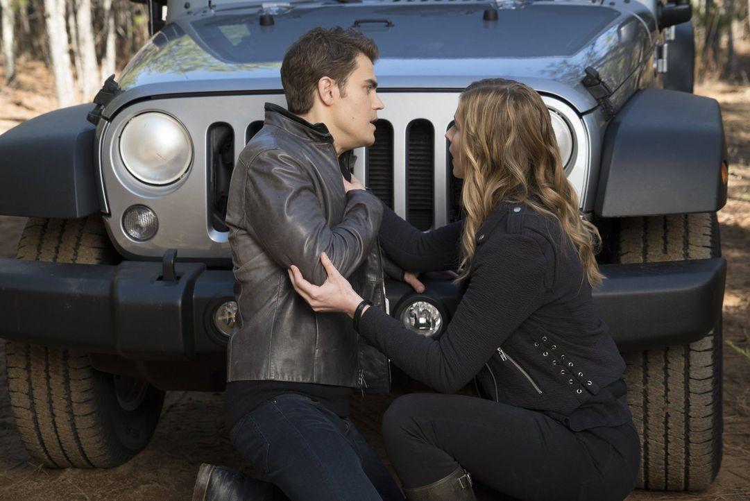 Während Valerie (Elizabeth Blackmore, r.) Stefan (Paul Wesley, l.) auf seiner Flucht begleitet, fühlt sich Caroline in ihrer neuen Mutterrolle mehr... - Bildquelle: Warner Bros. Entertainment, Inc.