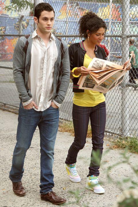 Dan (Penn Badgley, l.) steht plötzlich zwischen zwei Frauen, als Vanessa (Jessica Szohr, r.) wieder in der Stadt auftaucht ... - Bildquelle: Warner Brothers
