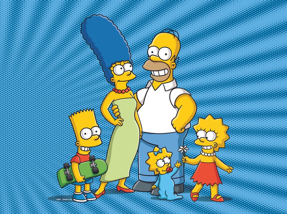 (23. Staffel) - Eine ganz besondere Familie: Maggie (vorne), Marge (2.v.l.), Homer (2.v.r.), Bart (l.) und Lisa Simpson (r.) ... - Bildquelle: und TM Twentieth Century Fox Film Corporation - Alle Rechte vorbehalten