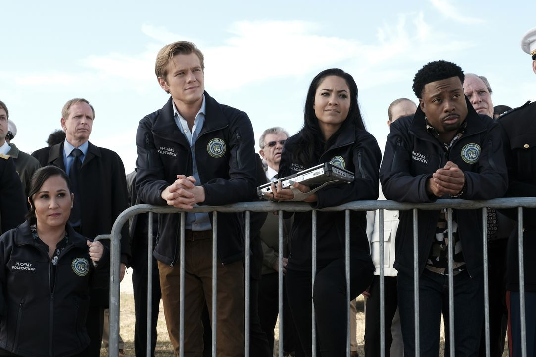 (v.l.n.r.) Matty Webber (Meredith Eaton); Angus MacGyver (Lucas Till); Riley Davis (Tristin Mays); Wilt Bozer (Justin Hires) - Bildquelle: Guy D'Alema Guy D'Alema/CBS   2017 CBS Broadcasting, Inc. All Rights Reserved.