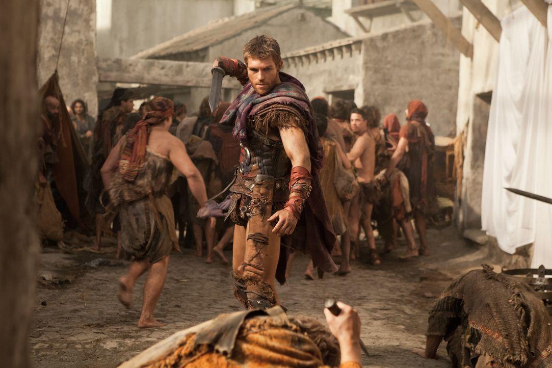 Weil der Verdacht aufkommt, unter ihnen sei ein Spion, entstehen Spannungen zwischen Spartacus (Liam McIntyre) und seinen Männern ... - Bildquelle: 2012 Starz Entertainment, LLC. All rights reserved.