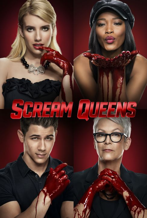 (1. Staffel) - Scream Queens - Artwork - im Uhrzeigersinn: Chanel (Emma Roberts), Zayday (Keke Palmer), Dekan Cathy (Jamie Lee Curtis) und Boone (Ni... - Bildquelle: 2015 Fox and its related entities.  All rights reserved.