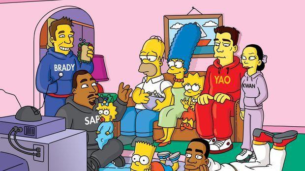 Homer (4.v.l.) soll beim Superbowl-Endspiel die Halbzeit-Show produzieren, do...