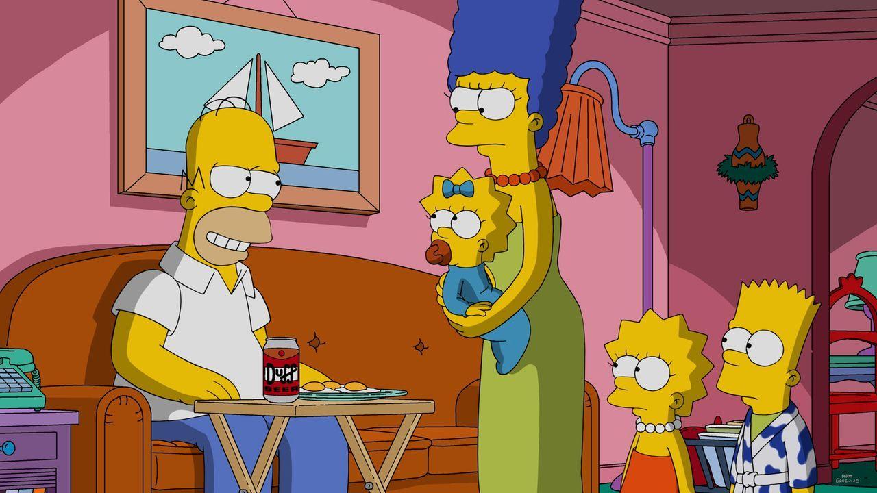 Als Mr. Burns möchte, dass Marge (M.) und die Kinder Maggie (2.v.l.), Lisa (2.v.r.) und Bart (r.) seine Familie spielen, fühlt sich Homer (l.) überf... - Bildquelle: 2016-2017 Fox and its related entities. All rights reserved.