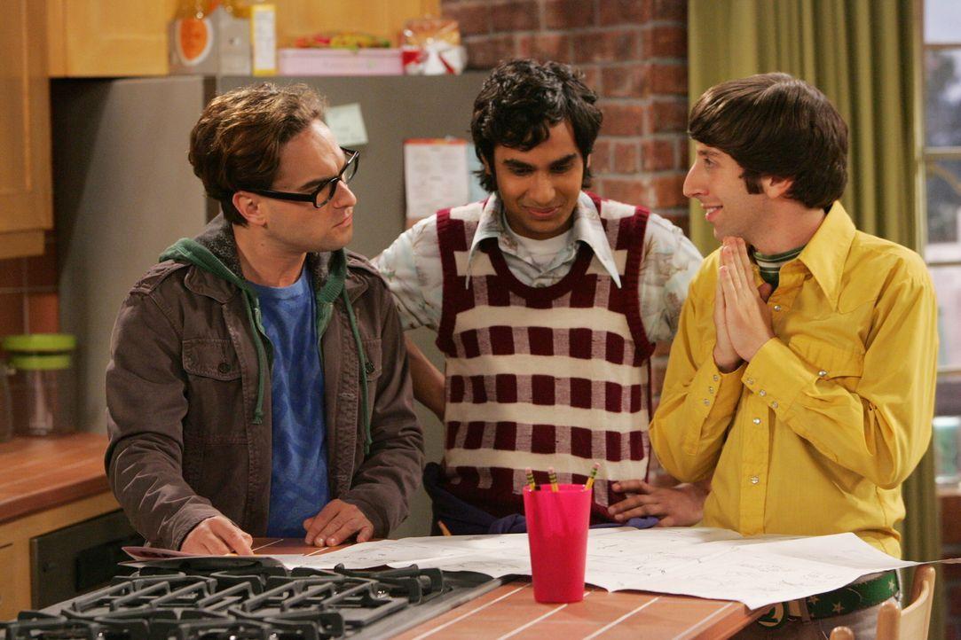 Versuchen für Penny ein Regal aufzubauen, doch für die Intellektuellen Leonard (Johnny Galecki, l.), Rajesh (Kunal Nayyar, M.) und Howard (Simon H... - Bildquelle: Warner Bros. Television