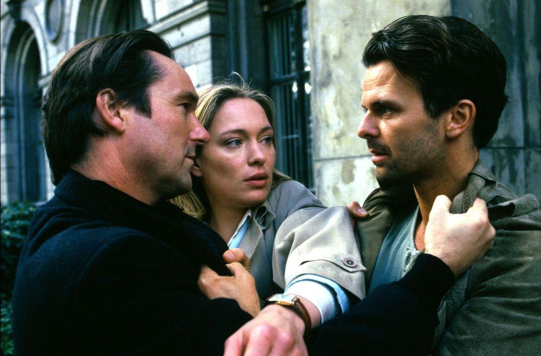 Ihr neuer Nachbar Nick Adams (Helmut Zierl, l.) steht Sarah (Katja Weitzenböck, M.) bei der gewalttätigen Attacke ihres Ehemanns Thomas (Zsolt Bá... - Bildquelle: Sat.1