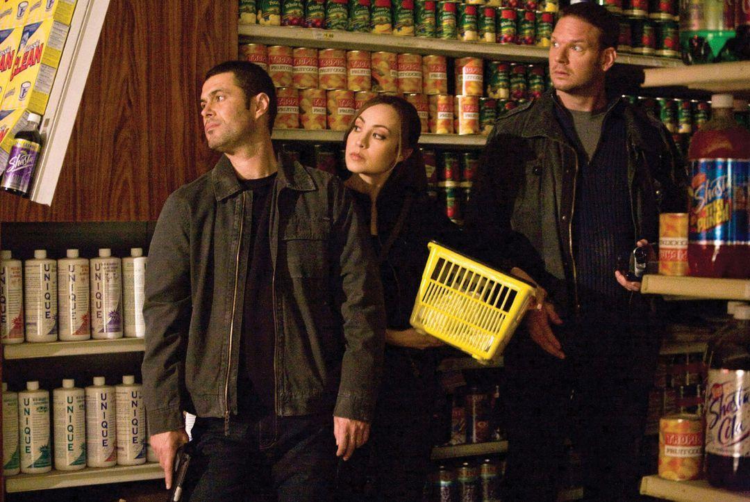 Müssen eine Alieninvasion stoppen, die das Ende der Menschheit bedeuten würde: (v.l.n.r.) Ritter (Carlos Bernard), Sterling (Courtney Ford) und Loga... - Bildquelle: 2007 Warner Bros. Entertainment INC.