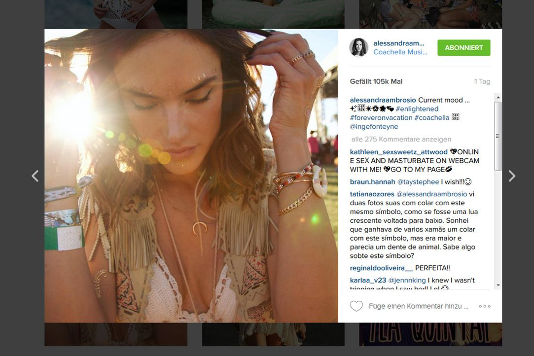 alessandra-ambrosio-insta - Bildquelle: www.instagram.com/alessandraambrosio