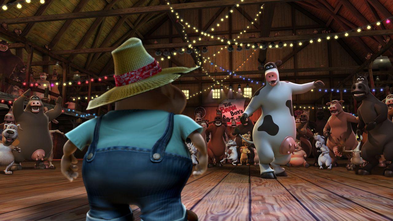 """""""Macht Platz für die wahren Party-Animals!"""" Nachts wird der Kuhstall zur Großraum-Disko umfunktioniert und dann tanzen Rindvieh Otis (r.) und sein... - Bildquelle: Paramount Pictures"""