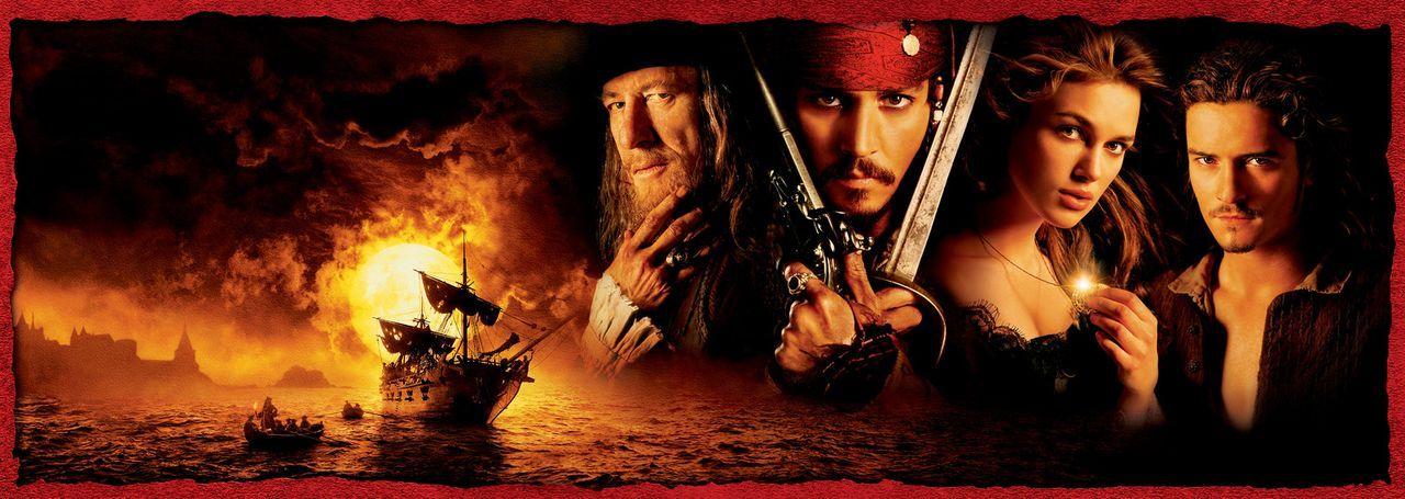 Fluch der Karibik mit (v.l.n.r.) Geoffrey Rush, Johnny Depp, Keira Knightley und Orlando Bloom - Bildquelle: Disney/ Jerry Bruckheimer