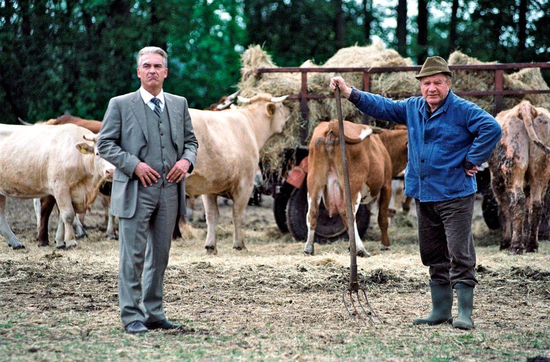 Es ist alles so anders auf dem Land: Johannes (Christoph M. Ohrt, l.) mit Walter (Michael Hanemann, r.) auf dem Feld. - Bildquelle: Hardy Spitz Sat.1