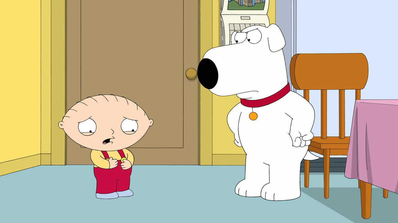 Hat seine obskure Erfindung etwa geklappt? Ist Stewie (l.) wirklich schwanger mit Brians (r.) Kind? - Bildquelle: 2015-2016 Fox and its related entities. All rights reserved.