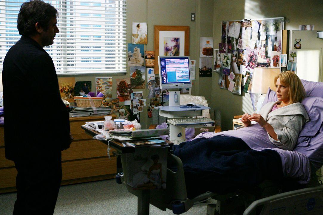 Als plötzlich Denny (Jeffrey Dean Morgan, l.) wieder vor Izzie (Katherine Heigl, r.) steht, ahnt sie, was dies zu bedeuten hat ... - Bildquelle: Touchstone Television