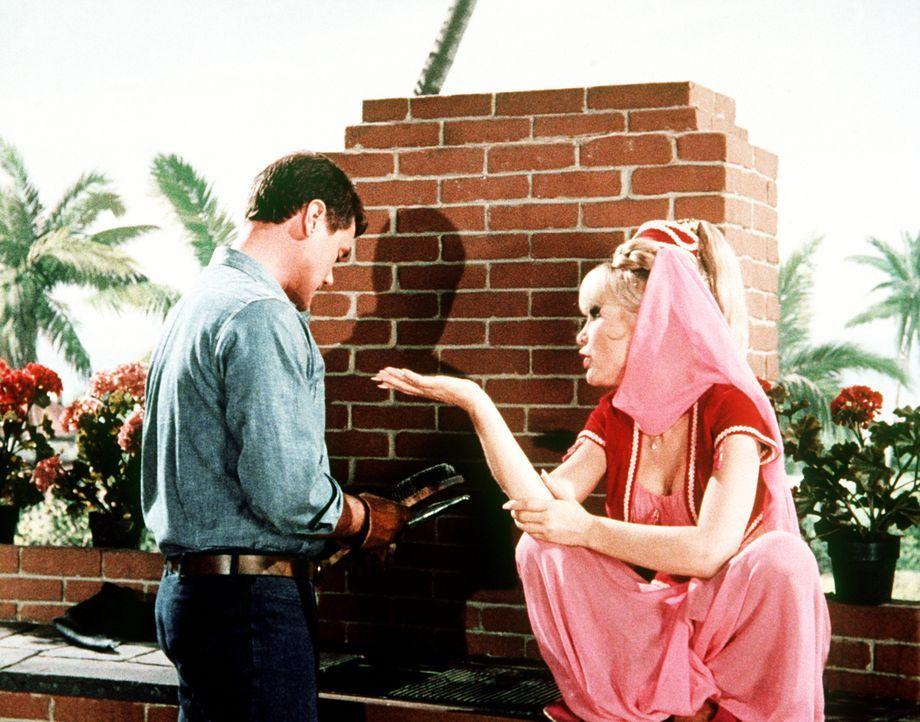 Jeannie (Barbara Eden, r.) und Tony (Larry Hagman, l.) beratschlagen, wie sie wohl für Roger die perfekte Frau finden können. Mit Hilfe einer Partne...
