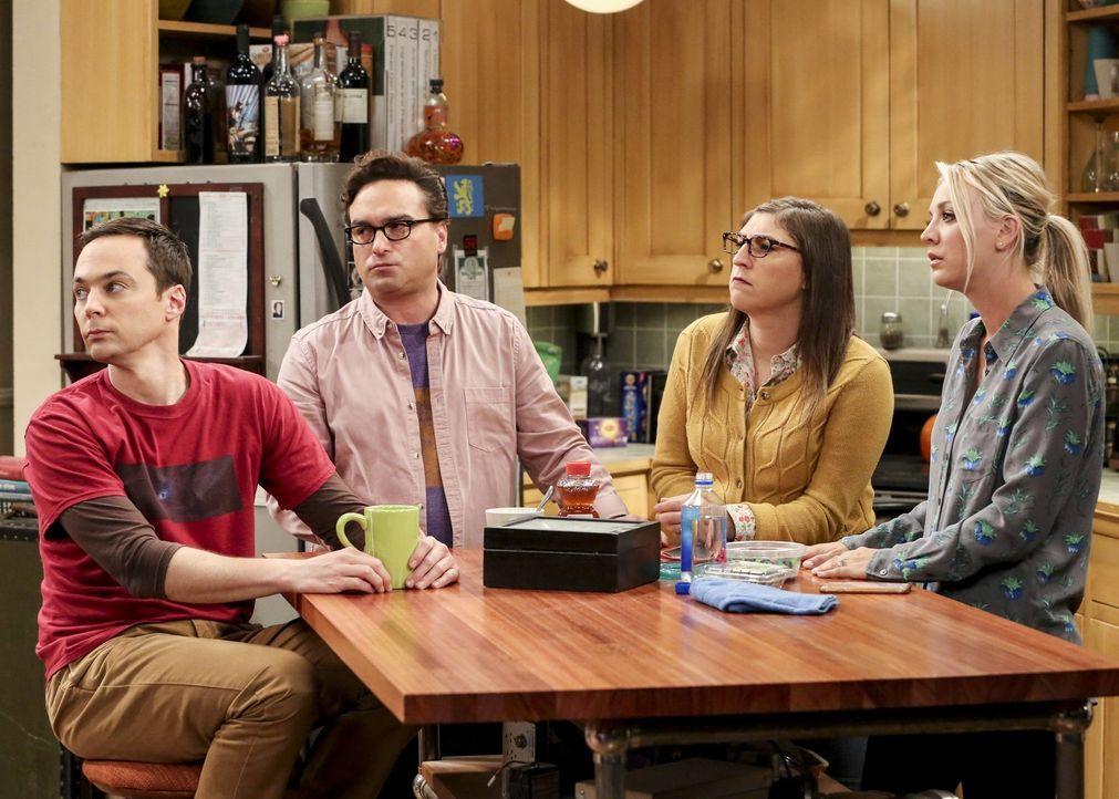 Erinnern sich an die Tage, als ein Bitcoin nichts wert war: Sheldon (Jim Parsons, l.), Leonard (Johnny Galecki, 2.v.l.), Amy (Mayim Bialik, 2.v.r.)... - Bildquelle: Warner Bros. Television