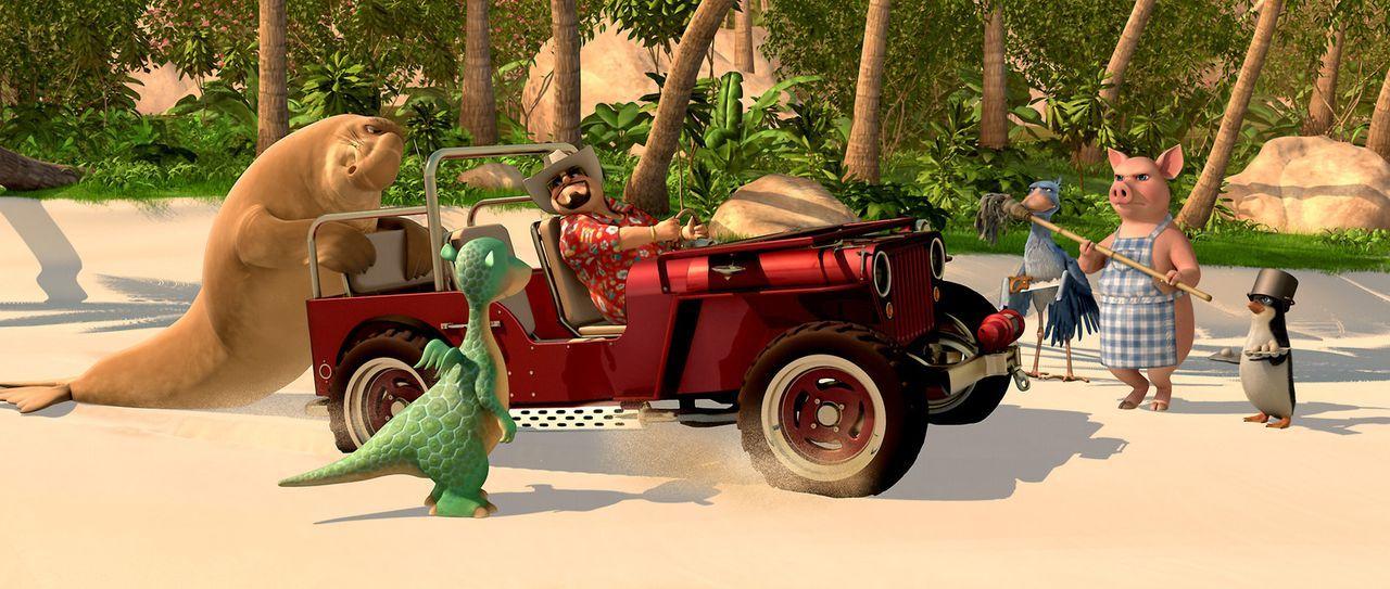 Der gerissene Geschäftsmann Barnaby (3.v.l.) kommt auf die Insel, um Urmel (2.v.l.) mitzunehmen. Doch da hat er die Rechnung ohne Seele-Fant(l.), S... - Bildquelle: Constantin Film