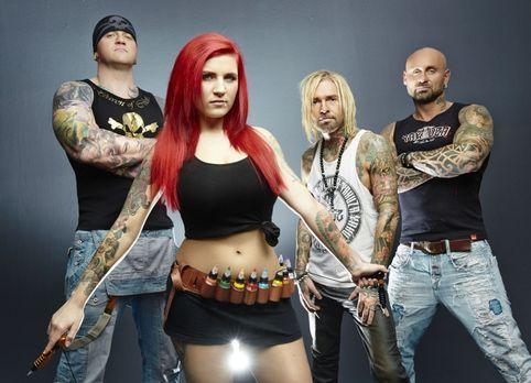 Horror Tattoos - (1. Staffel) - Die vier Tattoo-Profis (v.l.n.r.) Randy Engel...