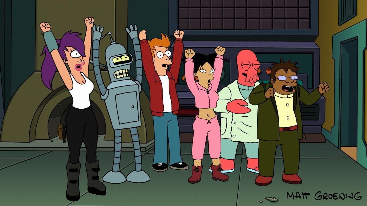 Freuen sich, dass sie nach ihrer Entlassung wieder einen Job haben: (v.l.n.r.) Leela, Bender, Fry, Amy, Zoidberg, Hermes ... - Bildquelle: 2007 Twentieth Century Fox Film Corporation. All rights reserved.