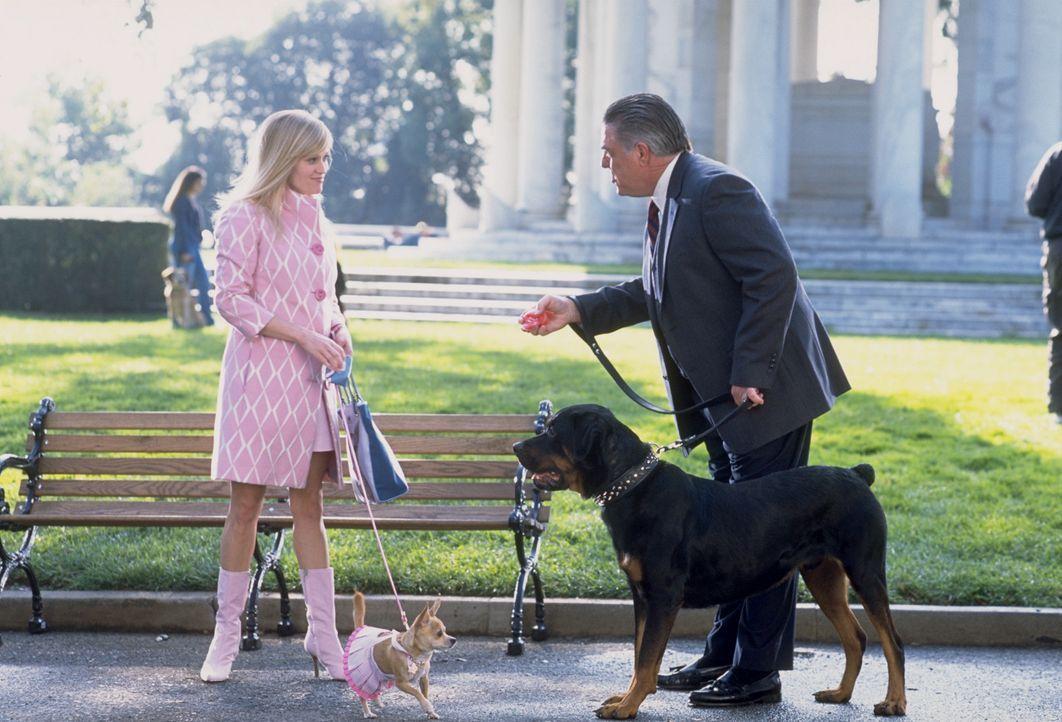 Während eines Hundespaziergangs lernt Elle (Reese Witherspoon, l.) den republikanischen Abgeordneten Stanford Marks (Bruce McGill, r.) kennen und Hü... - Bildquelle: Metro-Goldwyn-Mayer (MGM)