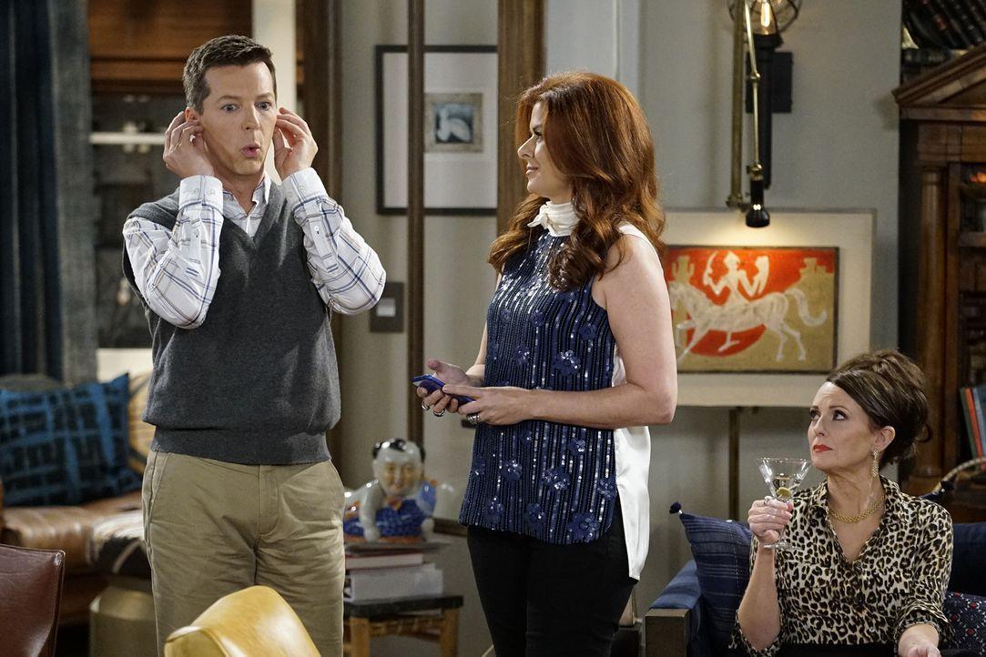 Jack (Sean Hayes, l.) und Karen (Megan Mullally, r.) versuchen, Grace (Debra Messing, M.) und auch Will dabei zu helfen, ihre kleinen politischen Ge... - Bildquelle: Chris Haston 2017 NBCUniversal Media, LLC