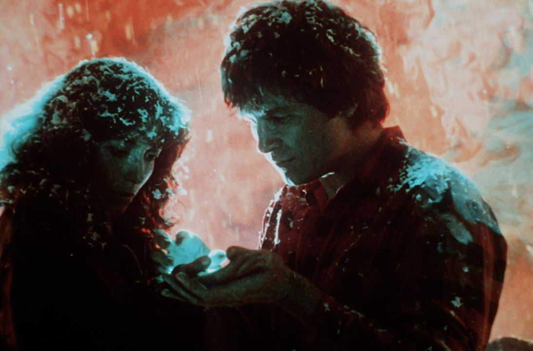 Plötzlich steht ein Außerirdischer in Gestalt ihres verstorbenen Ehemannes Scott (Jeff Bridges, r.) vor Jenny (Karen Allen, l.) und zeigt ihr magisc... - Bildquelle: Columbia Pictures
