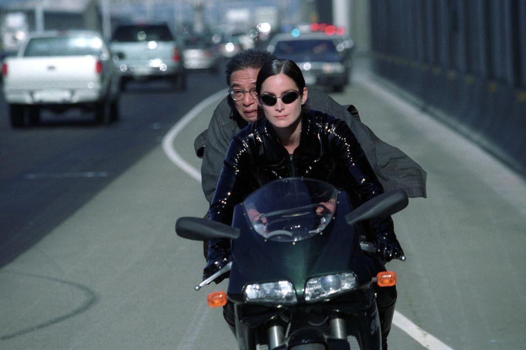 Obwohl Rebellenführer Morpheus stets vor einer Fahrt auf dem Highway warnte, bleibt Trinity (Carrie-Anne Moss, vorne) keine andere Wahl, bei der Ent... - Bildquelle: Warner Bros.