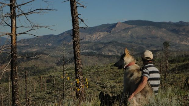 Rich Frettero und sein Hund lieben das, was sie tun, und die Umgebung von Lak...