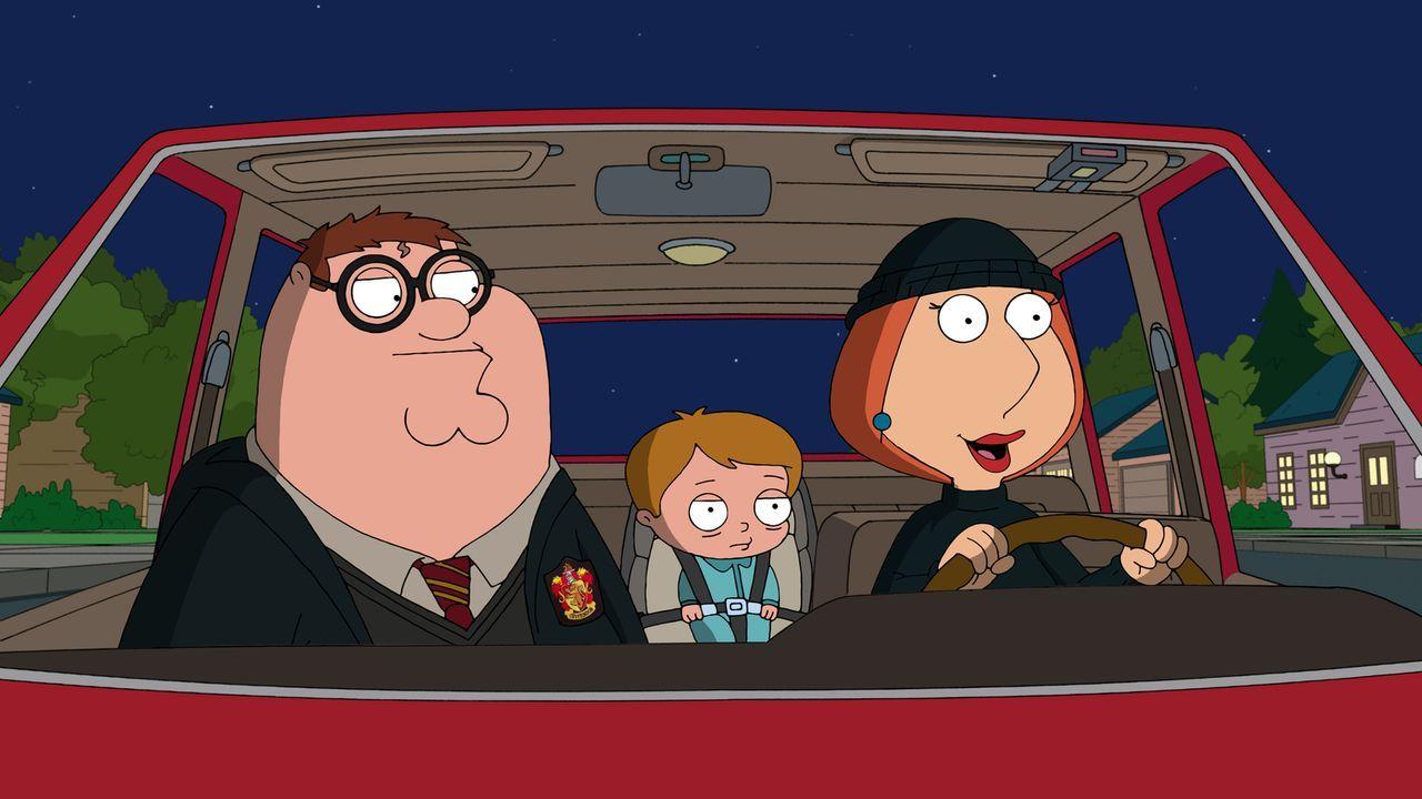 Lois (r.) und Peter (l.) sind entsetzt, als sie erfahren, dass Stewies neuer Freund Scotty (M.) Krebs hat und seine Eltern ihn nicht behandeln lasse... - Bildquelle: 2011 Twentieth Century Fox Film Corporation. All rights reserved.