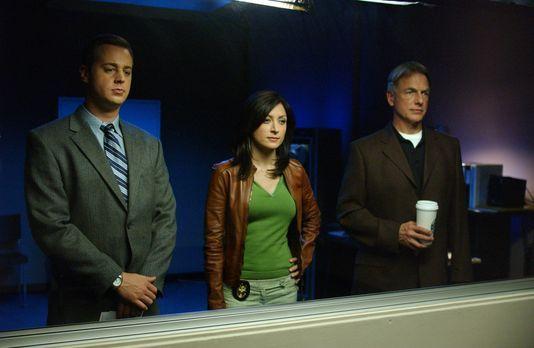 Navy CIS - Gibbs (Mark Harmon, r.), McGee (Sean Murray, l.) und Kate (Sasha A...