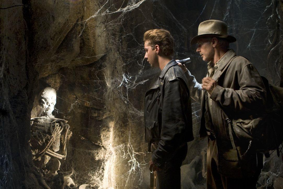 Als Jones (Harrison Ford, r.) erfährt, dass sein befreundeter wissenschaftlicher Kollege Professor Oxley auf der Suche nach dem Kristallschädel vers... - Bildquelle: David James & TM 2008 Lucasfilm Ltd. All Rights Reserved.