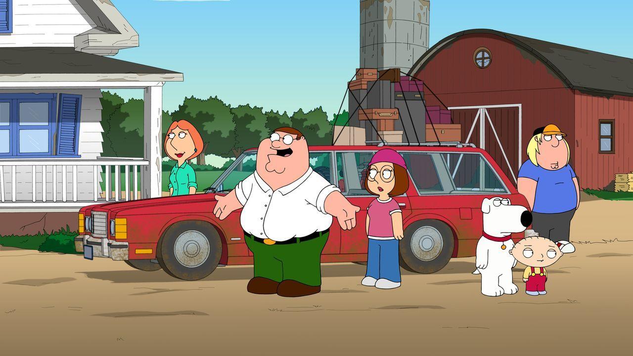 Weil die Verbrechensquote in Quahog steigt, flüchten Chris (r.), Lois (l.), Megan (3.v.l.), Peter (2.v.l.), Stewie (2.v.r.) und Brian (3.v.r.) aufs... - Bildquelle: 2013 Twentieth Century Fox Film Corporation. All rights reserved.