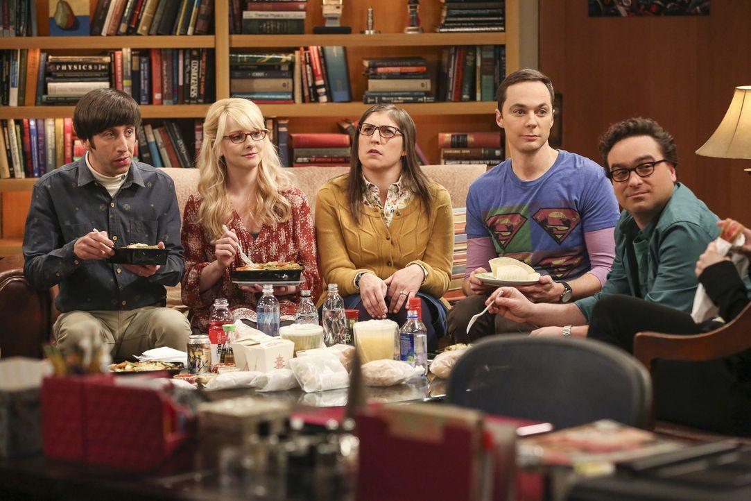 Sind mit ganz unterschiedlichen Themen beschäftigt: (v.l.n.r.) Howard (Simon Helberg), Bernadette (Melissa Rauch), Amy (Mayim Bialik), Sheldon (Jim... - Bildquelle: Warner Bros. Television