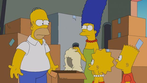 Machen eine unglaubliche Entdeckung: Homer (l.), Bart (r.), Marge (2.v.l.) un...