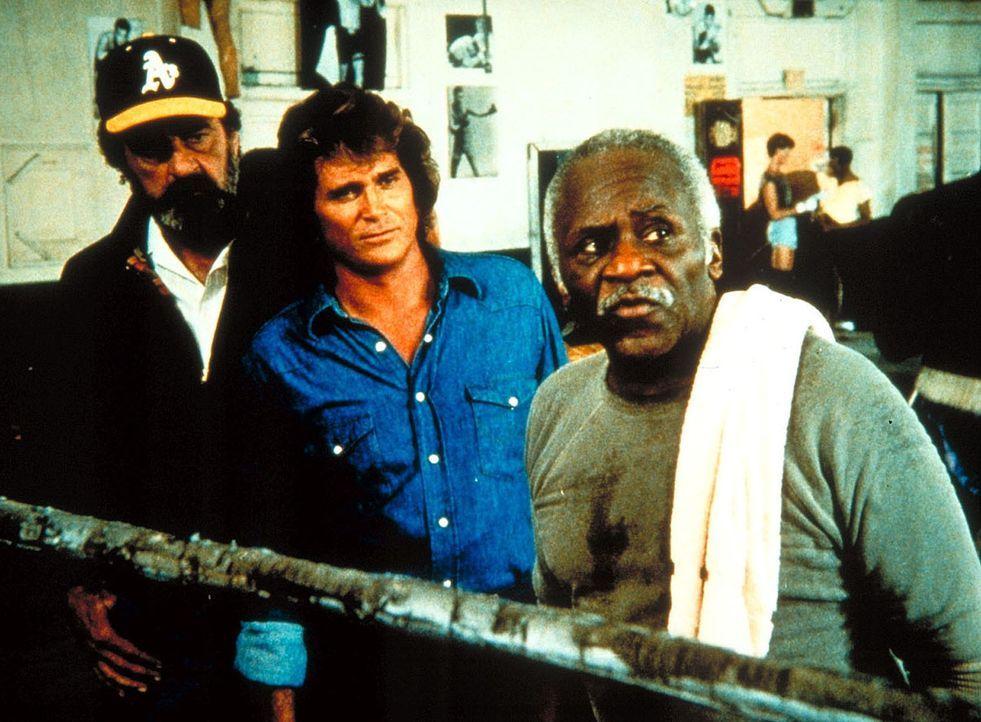 Aufmerksam verfolgt Großvater Boomer (Hank Rolike, r.) zusammen mit Mark (Victor French, l.) und Jonathan (Michael Landon) einen Kampf seiner Schütz... - Bildquelle: Worldvision Enterprises, Inc.