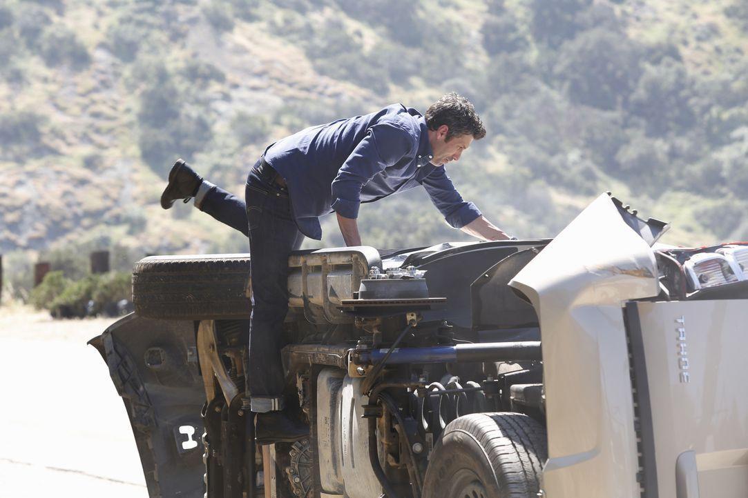 Auf dem Weg zum Flughafen wird Derek (Patrick Dempsey) Zeuge eines Autounfalls. Er zögert nicht lange und versucht alles, um zu helfen ... - Bildquelle: ABC Studios