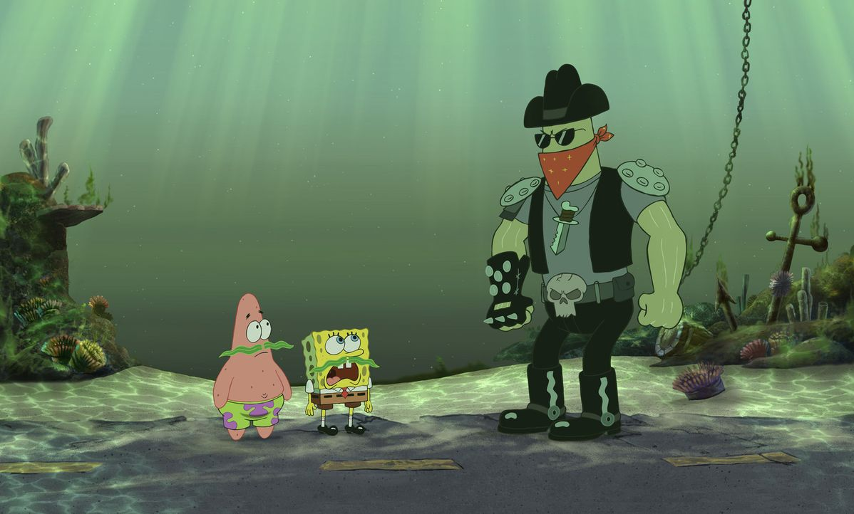 Der brutale Schläger Dennis (r.) wird von dem fiesen Schurken Plankton engagiert, um Patrick (l.) und Spongebob (M.) aufzuhalten ... - Bildquelle: Copyright   2004 PARAMOUNT PICTURES and VIACOM INTERNATIONAL INC. All Rights Reserved. NICKELODEON, SPONGEBOB SQUAREPANTS and all related titles, logo