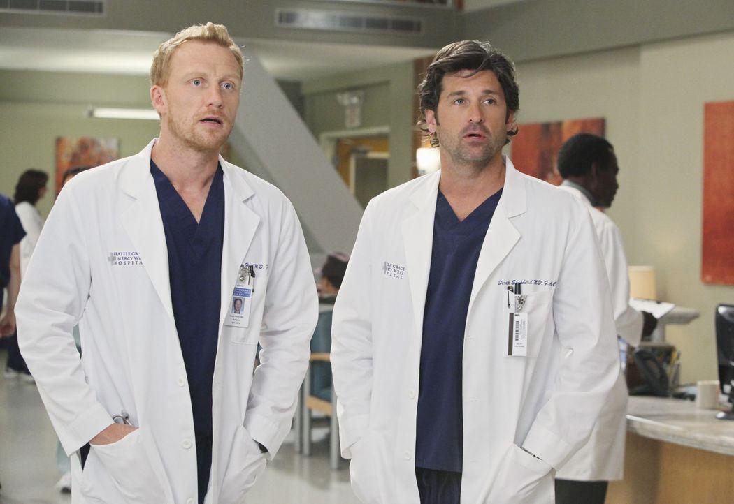 April ist von ihrem neuen Job als Stationsärztin vollkommen überfordert, während Derek (Patrick Dempsey, r.) und Owen (Kevin McKidd, l.) Probleme... - Bildquelle: ABC Studios