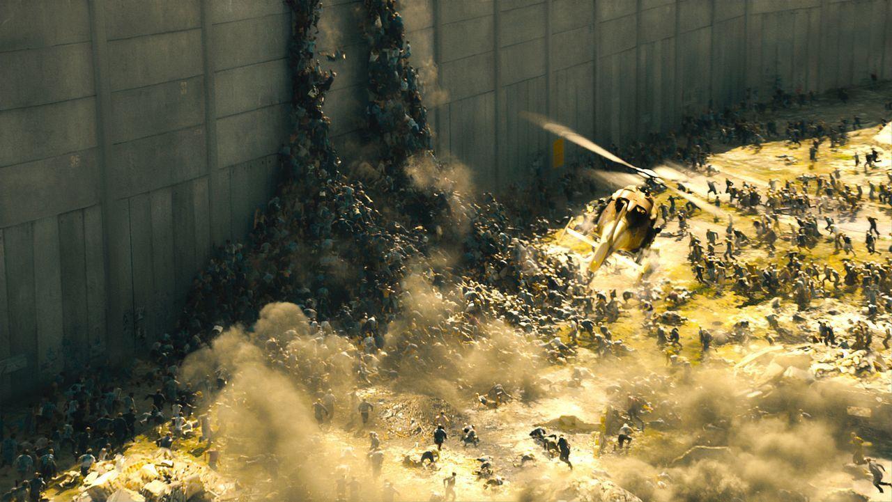 Der Funkspruch, der eine Zombieinvasion ankündigte, wurde nur von einem Land ernst genommen: Israel. Dort wurde eine gigantische Mauer gebaut, die d... - Bildquelle: 2013 Paramount Pictures.  All Rights Reserved.