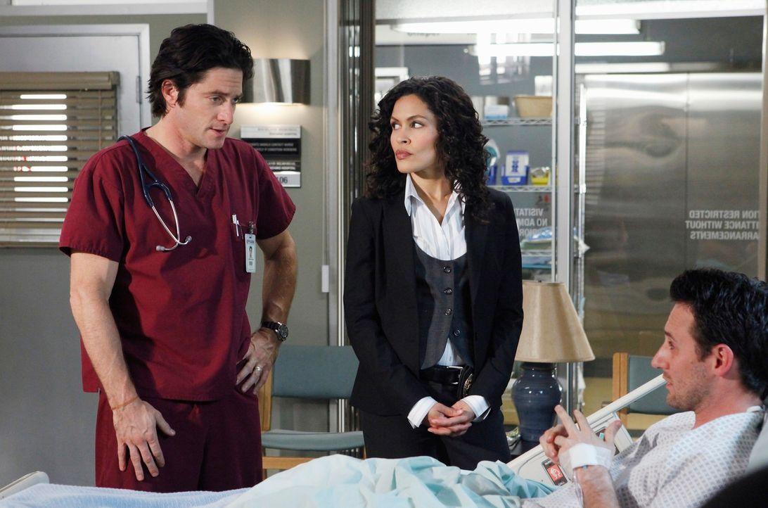 Det. Sam Blair (Ion Overman, M.) befragt Jim (David Conrad, l.) zu seinem neuen Patienten Robert Wharton (Josh Stewart, r.). - Bildquelle: ABC Studios