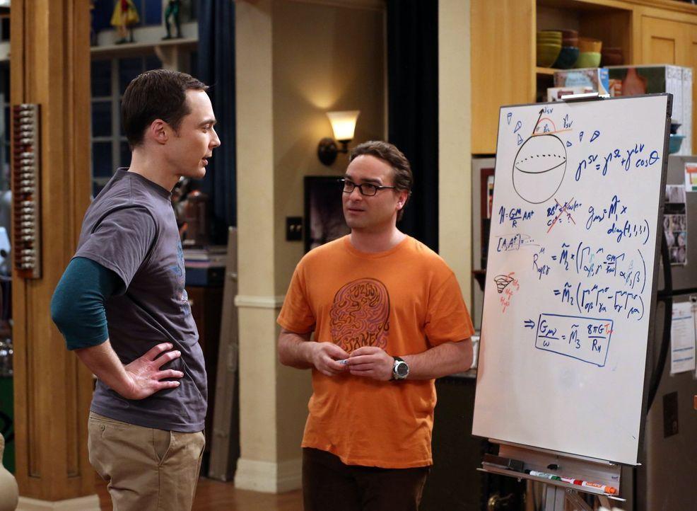 Während Penny, Amy und Bernadette einen gemeinsamen Abend verbringen, müssen sich Sheldon (Jim Parsons, l.) und Leonard (Johnny Galecki, r.) gegen m... - Bildquelle: Warner Bros. Television