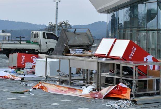 Sturm in Pyeongchang bringt Verletzte und Verwüstungen