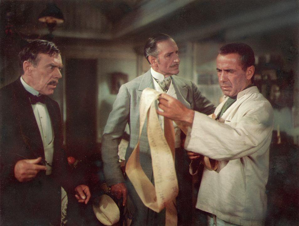 Der tyrannische André (Basil Rathbone, M.), der eigentliche Eigentümer des Ladens, will die Bücher inspizieren. Der versierte Urkundenfälscher Josep... - Bildquelle: Paramount Pictures
