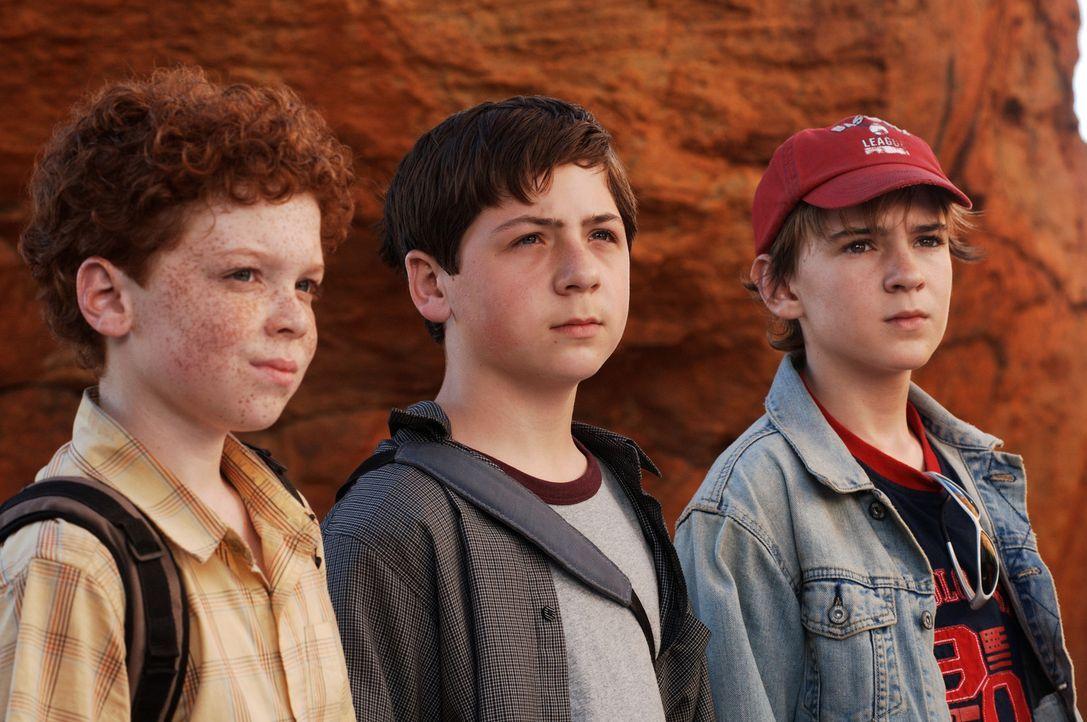 In Südafrika gehen die drei Fragezeichen Justus (Chancellor Miller, M.), Peter (Nick Price, r.) und Bob (Cameron Monaghan, l.) dem Geheimnis einer... - Bildquelle: Buena Vista Pictures