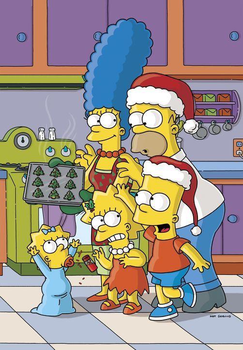 (16. Staffel) - Die chaotische Familie Simpson: Marge (hinten l.), Homer (hinten r.), Lisa (vorne M.), Bart (vorne r.), Maggie (vorne l.) ... - Bildquelle: und TM Twentieth Century Fox Film Corporation - Alle Rechte vorbehalten