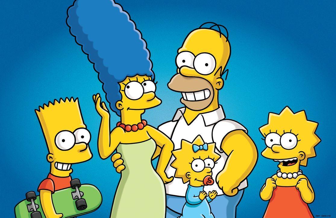 (27. Staffel) - Die Simpsons sind eine nicht alltägliche Familie: Maggie (2.v.r.), Marge (2.v.l.), Lisa (r.), Homer (M.) und Bart (l.) ... - Bildquelle: 2015 Fox and its related entities.  All rights reserved.
